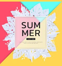 summer tropical leaf banner sale seasonal design vector image