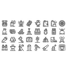 Survival icons set outline style vector