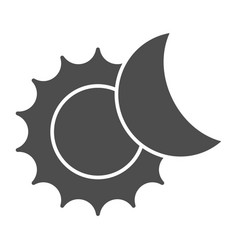 The sun and moon solid icon solar eclipse vector