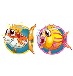Two cute fish on round badges vector