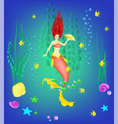 Underwater world little mermaid fishes plants vector