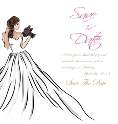 Wedding invitation card suite with bride and vector