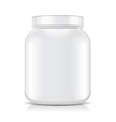 White blank plastic jar isolated on white vector