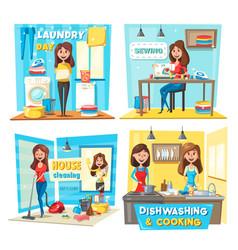 women vacuuming washing windows doing laundry vector image