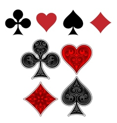 Playing card suit icons vector image vector image