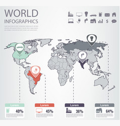 world map infographic template all countries are vector image vector image