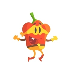 Bell pepper in mask and superhero costume part of vector