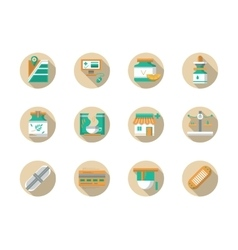 Drugstore round flat color icons vector image