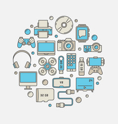 gadgets round colorful vector image vector image