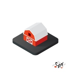 Isometric red barn icon building city infographic vector image