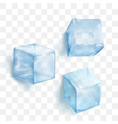 Realistic blue solid ice cubes on transparent vector