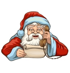 Santa reading letter and talking on phone vector image vector image