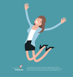 smiling young woman jumping vector image