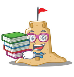 student with book sandcastle character cartoon vector image