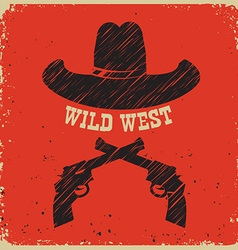 Western poster background with cowboy hat on red vector image vector image