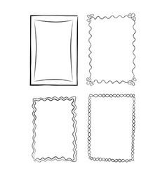 black and white outlined frames set vector image