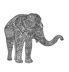 Elephant in asian style mandala pattern for adult vector