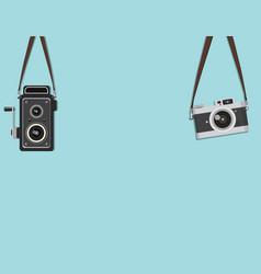 set hanging retro camera vector image