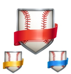 Set of Bright shield in the baseball ball inside vector image vector image