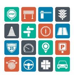 Silhouette road and traffic icons vector