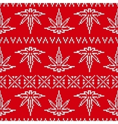 Pixel art game style sweater weed leaf seamless vector