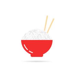rice porridge with chopsticks vector image