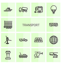14 transport icons vector