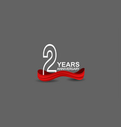 2 years anniversary line style white color vector