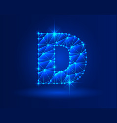 abstract glowing letter d on dark blue background vector image