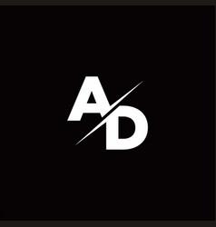 Ad logo letter monogram slash with modern logo vector