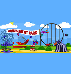 Amusement park landscape vector