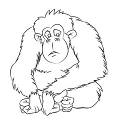 Ape cartoon - line drawn vector