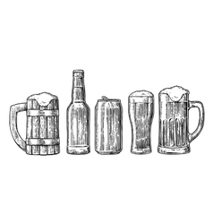 Beer glass mug can bottle hop vector