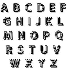 Black 3d font alphabet vector