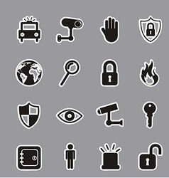 Black security icons over gray background vector