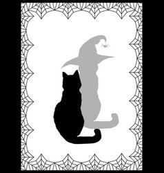 Black silhouette of cat and his shadow in witch vector
