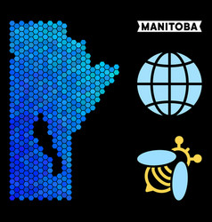 Blue hexagon manitoba province map vector