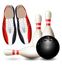Bowling shoes skittles and ball vector