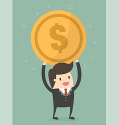 businessman holding a coin vector image