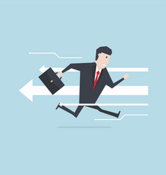 businessman run opposite direction vector image