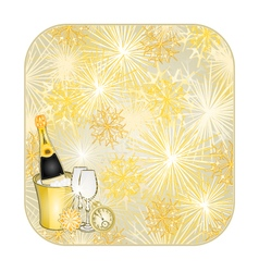 Button square New Year fireworks vector image