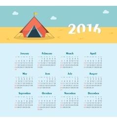 Calendar for 2016 Week Starts Sunday vector