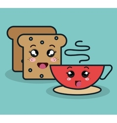 Cartoon bread with cup coffee facial expression vector