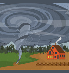 cartoon house and tornado card poster vector image