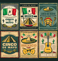 cinco de mayo and viva mexico retro poster design vector image