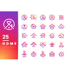 Colorful house and heart line logo icon inside vector
