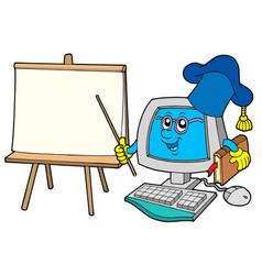 Computer teacher with table vector