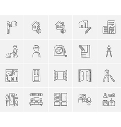 Construction sketch icon set vector