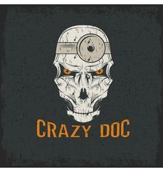 crazy doctor skull vector image