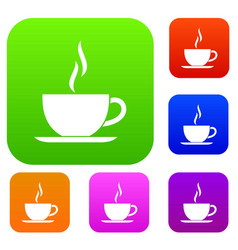 cup of hot drink set collection vector image